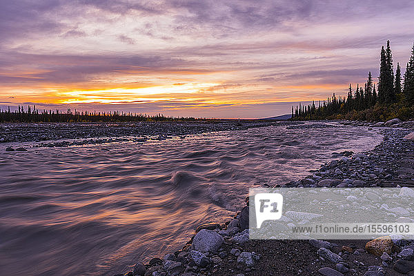 Sunset over the Muddy River in Denali National Park and Preserve; Alaska  United States of America
