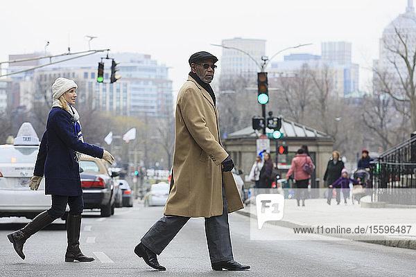 People crossing Tremont Street  Boston  Suffolk County  Massachusetts  USA People crossing Tremont Street, Boston, Suffolk County, Massachusetts, USA