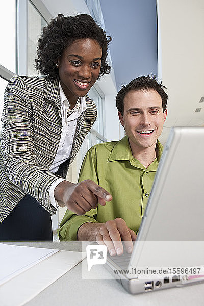 Business executives using a laptop