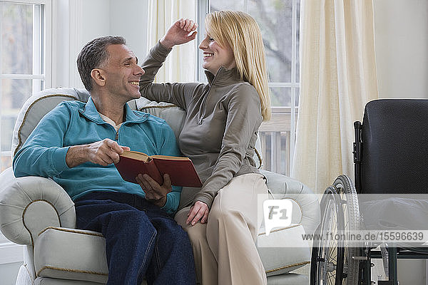 Couple smiling at home