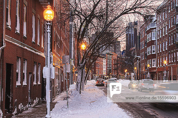Hanover Street view after blizzard in Boston  Suffolk County  Massachusetts  USA