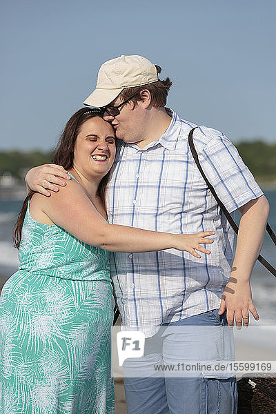 Blind couple in love and enjoying the outdoors