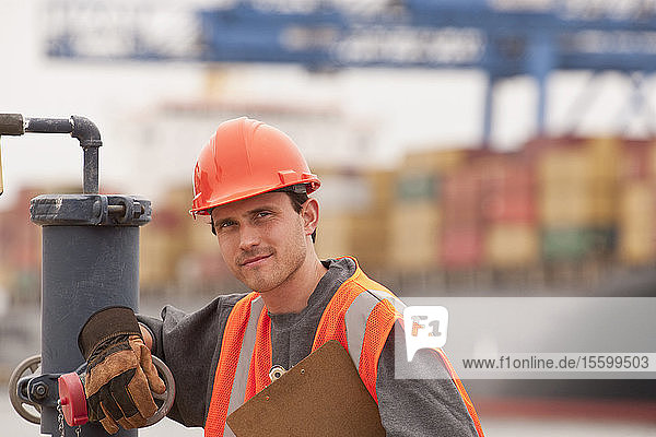 Transportation engineer working on a commercial dock