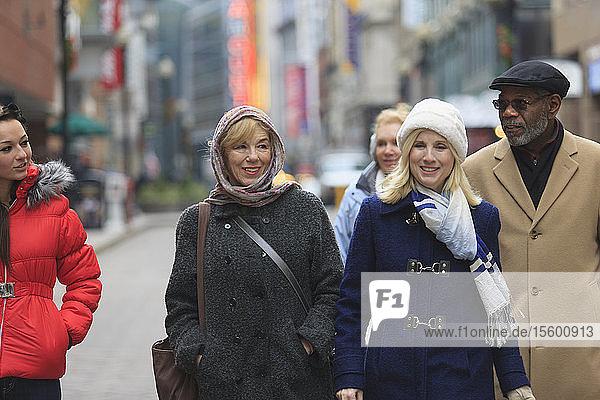 People walking on Washington Street  Boston  Suffolk County  Massachusetts  USA
