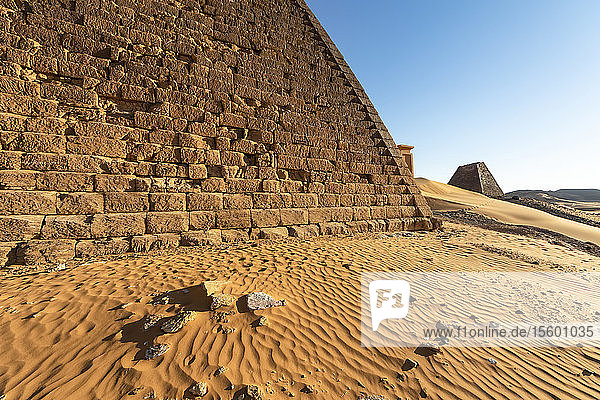 Pyramids in the Northern Cemetery at Begarawiyah  containing 41 royal pyramids of the monarchs who ruled the Kingdom of Kush between 250 BCE and 320 CE; Meroe  Northern State  Sudan
