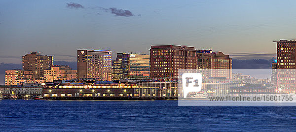 Seaport District with World Trade Center at dusk  Boston  Massachusetts  USA