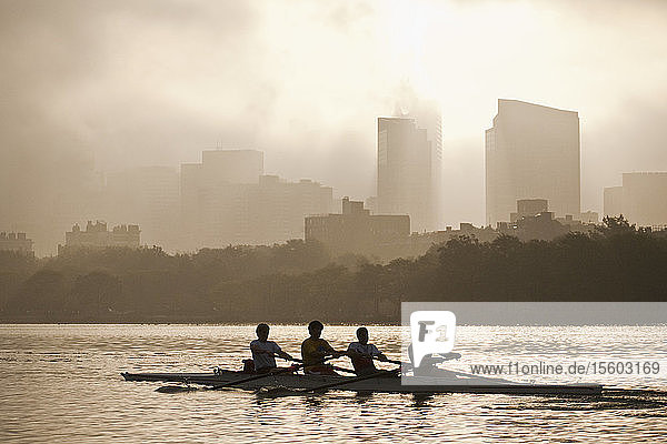 People rowing a boat in a river with city in the background  Charles River  Back Bay  Boston  Massachusetts  USA