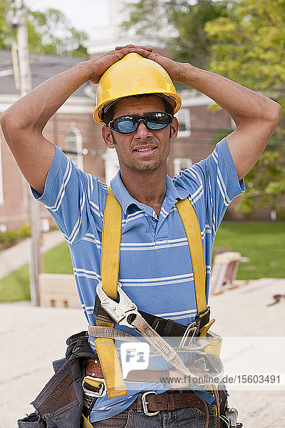 Carpenter resting during break