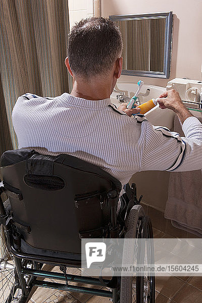 Man with Spinal Cord Injury in his bathroom