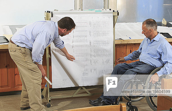 Two project engineers using a hanging rack for job site plans  one in a wheelchair with a Spinal Cord Injury