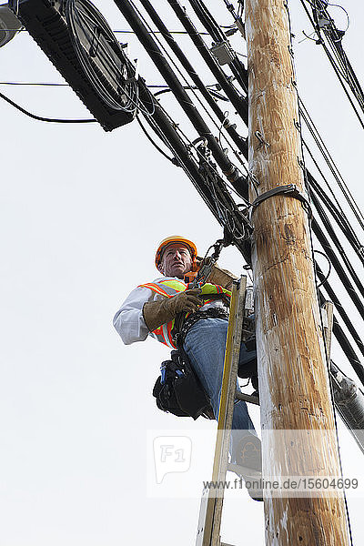 Communications worker talking on butt set while installing new cables on power pole