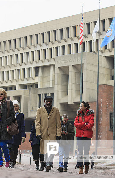 People walking in front of Boston City Hall  Government Center  Boston  Suffolk County  Massachusetts  USA