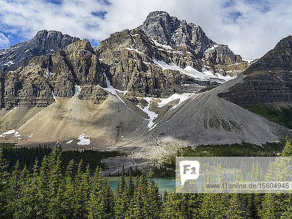 Rocky mountains and lake along the Icefield Parkway; Improvement District No. 9  Alberta  Canada