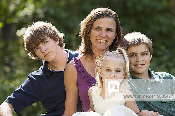 Portrait of a happy mother with her children