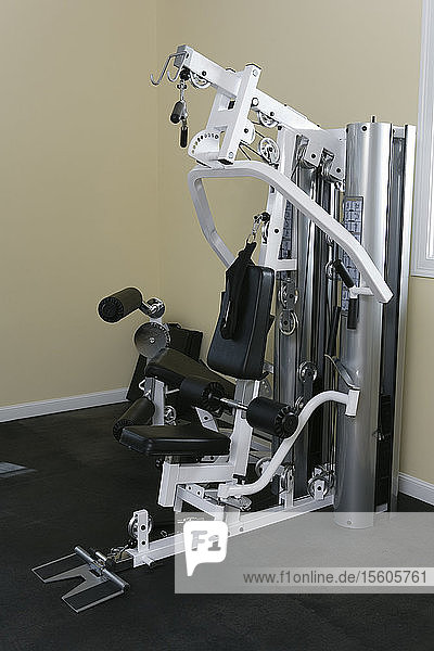 Exercise equipment in the gym.