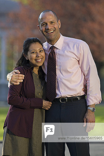 Portrait of an Hispanic couple smiling