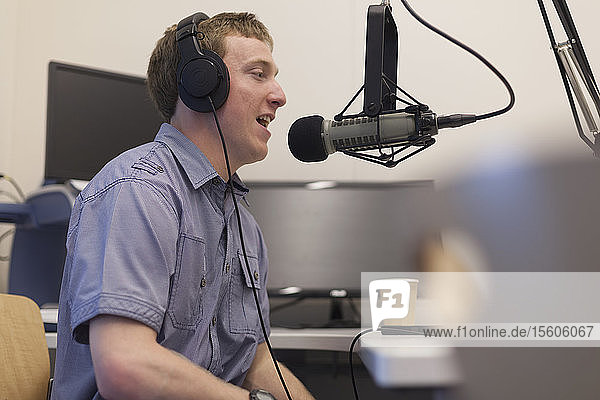 Young man with Cerebral Palsy hosting his radio show