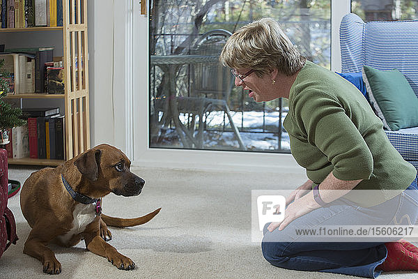 Woman with Autism looking at dog