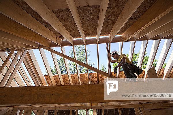 Hispanic carpenter using circular saw on rafter at a house under construction