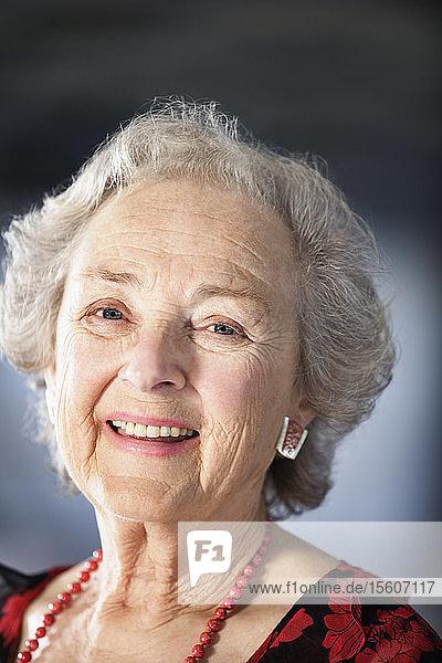 Portrait of a cheerful senior woman.