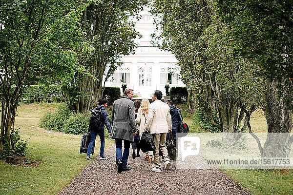 Rückansicht von männlichen und weiblichen Geschäftsleuten  die auf einem Fußweg inmitten von Bäumen gehen