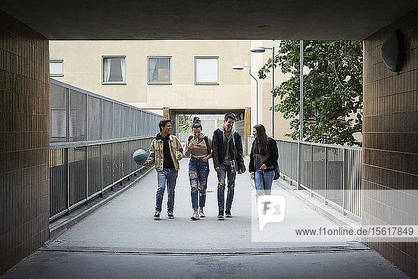 Glückliche Freunde in voller Länge beim Gehen auf dem Steg