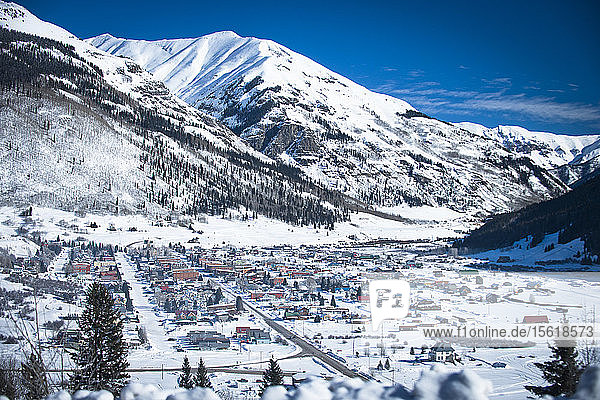 A sunny morning in the snow covered mountain town of Silverton  Colorado.