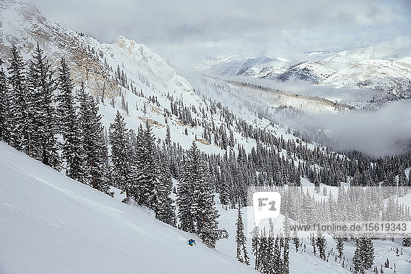 A woman making some fresh turns. Solitude  Utah