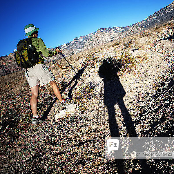 Rear view of a female hiker with the long shadow of a another hiker in the foreground. Red Rock Canyon National Conservation Area.