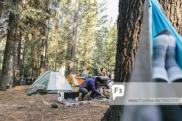 Climbers organizing gear at a campground in Yosemite.