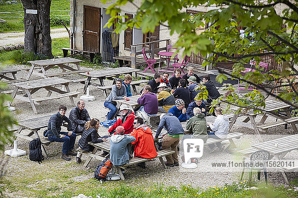 Hikers gather at the Auberge des Alli?ᆴres for dinner inside the Parc Naturel R?ᄅgional du Vercors  France. The hikers are all glaciologists assembled for a conference hosted by the Laboratoire de Glaciologie et G?ᄅophysique de l'Environment in nearby Grenoble.