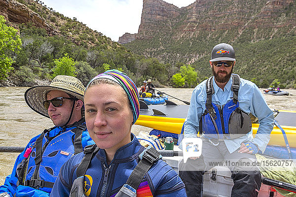 Group Of People Rafting In Yampa And Green Rivers Through Dinosaur National Monument