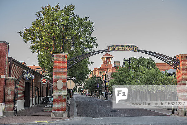 Gate to old town marketplace in Wichita under clear sky  Kansas  USA