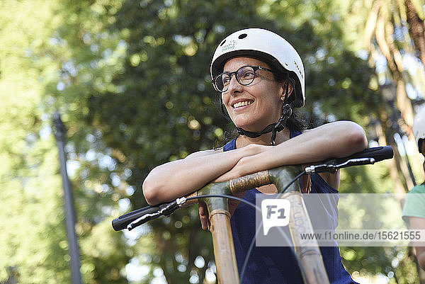 Portrait Of A Girl On A Bamboo Bike In Buenos Aires  Argentina