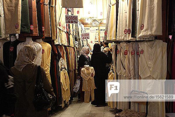 Marrakech  women in the souk  Marrakech  Morocco North Africa