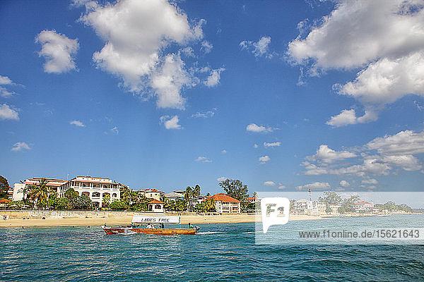 Indian Ocean and Stone Town in Zanzibar  Tansania  East Africa
