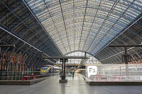Photograph with interior of St Pancras railway station  London  England  UK