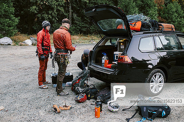 Climbers preparing for the day in Yosemite Valley.