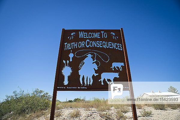 An Old Metal Sign In The Small Town Of Truth Or Consequences  New Mexico