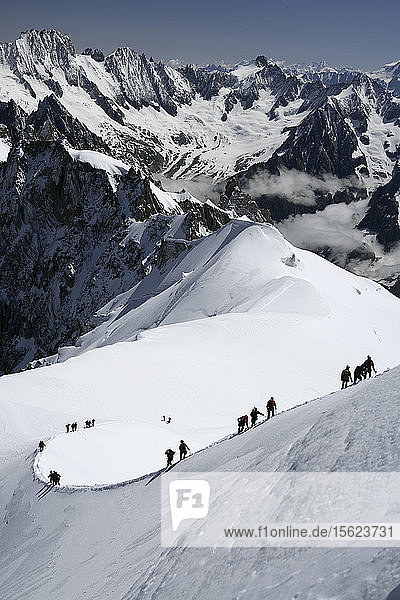 Mountaineers and climbers  Aiguille du Midi  Mont Blanc Massif  Chamonix  French Alps  Haute Savoie  France  Europe