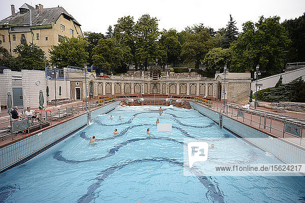 People In The Open-air Area Of The Gellert Baths  Buda  Budapest  Hungary