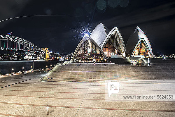 Illuminated Sydney Opera House In Australia