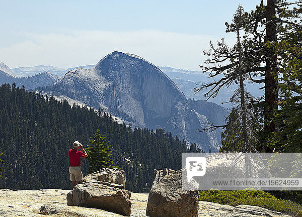 Half Dome  as seen from the Tioga Pass Road en route to Tuolumne Meadows  Yosemite National Park  California.