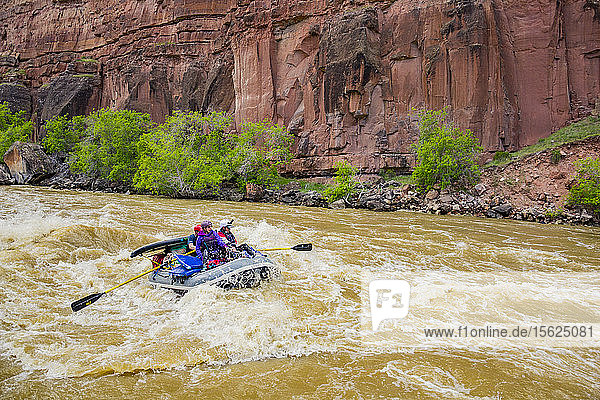 Rafters Rafting On Yampa And Green Rivers Through Dinosaur National Monument