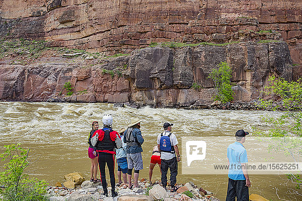 Group Of People Standing At Green River  Dinosaur National Monument  Utah