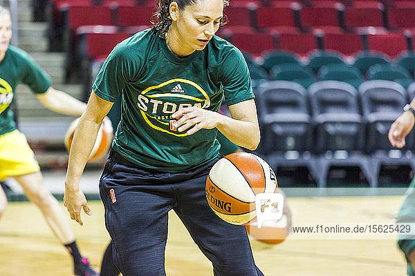 Female basketball player warming up before game  Seattle  Washington  USA