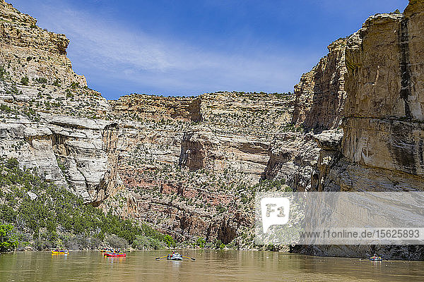 People Rafting On Yampa And Green Rivers Through Dinosaur National Monument