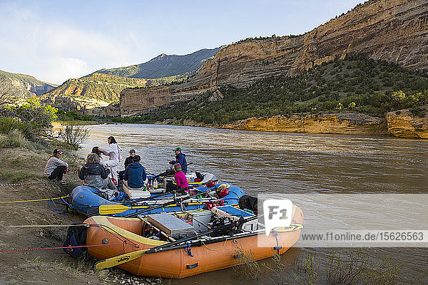 Group Of People Rafting On The Yampa And Green Rivers Through Dinosaur National Monument
