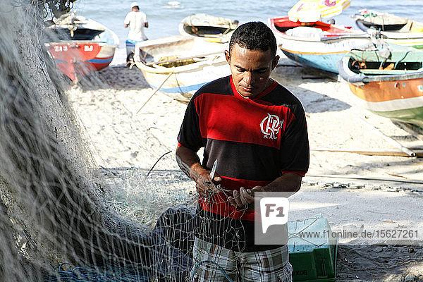 Fischerdorf an der Copacabana  Rio de Janeiro  Brasilien.