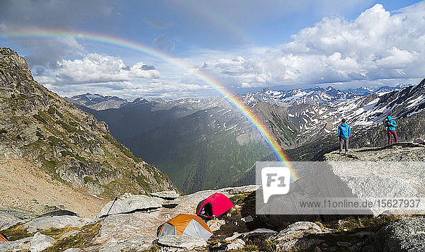 A rainbow shows in the Applebee Dome Campground in the Bugaboo Provincial Park  British Columbia  Canada. The Applebee Dome Campground is the main base camp for the climbers in the Bugaboos. This is due that it is the closest to the main climbing areas.